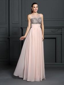 Peach Sleeveless Empire Waist Chiffon Prom Dress With Illusion Bodice