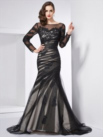 Illusion Black Long Sleeve Applique Tulle Open Back Mermaid Prom Dress