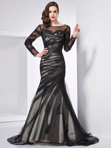 Illusion Black Long Sleeve Applique Tulle Open Back Mermaid Prom Dress