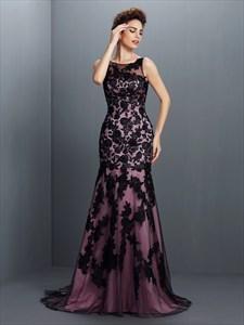 Elegant Sleeveless Black Lace Overlay Mermaid Floor Length Prom Gown