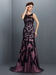 Elegant Sleeveless Black Lace Overlay Mermaid Floor Length Prom Gown