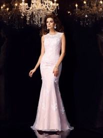 Gorgeous Blush Pink Cap Sleeve Mermaid Long Prom Dress With Open Back