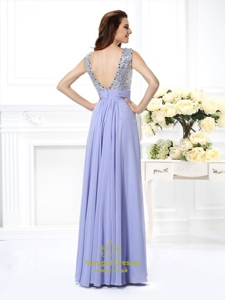 Sleeveless Open Back A-Line Chiffon Formal Dress With Sequin Bodice