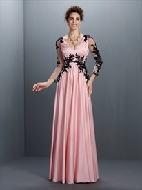 Pink Illusion Long Sleeve Empire Waist Lace Embellished Formal Dress