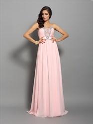 Peach Strapless Beaded Neckline Empire Waist A-Line Chiffon Prom Gown