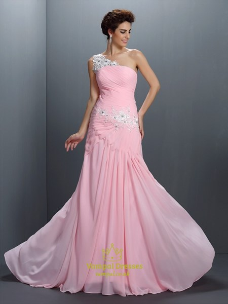 Elegant Pink One Shoulder Floor Length Chiffon Prom Dress With Lace