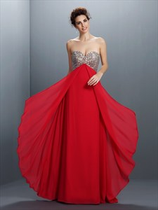 Red Strapless A Line Empire Waist Chiffon Prom Dress With Beaded Top