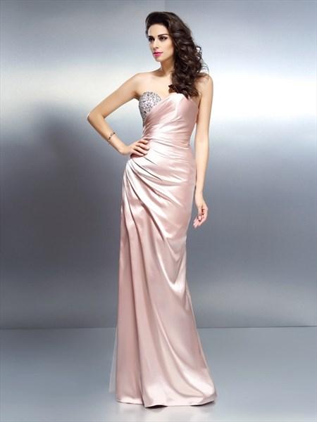 Elegant Peach Strapless Sweetheart Floor Length Beaded Evening Dress