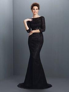 Elegant Black Lace Mermaid Long Formal Dress With 3/4 Length Sleeves