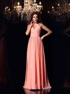 Coral Beaded Cap Sleeve Chiffon A-Line Long Prom Dress With Open Front