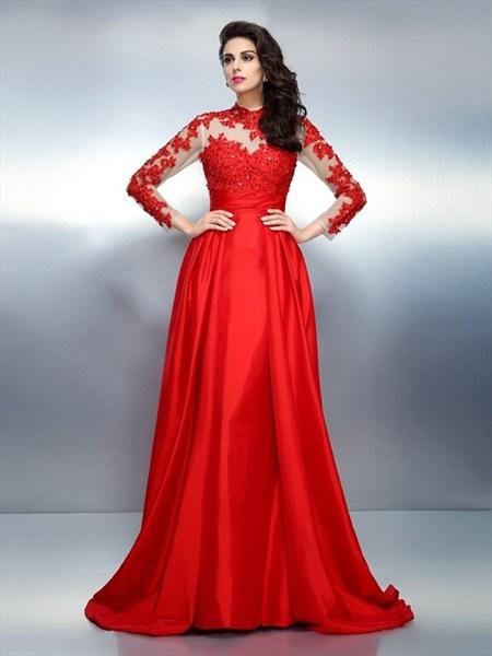 Illusion Long Sleeve Lace Embellished Formal Dress With Keyhole Back