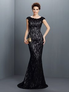Elegant Simple Black Lace Cap Sleeve Floor Length Mermaid Prom Dress