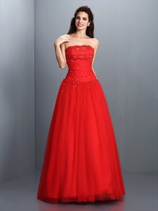 Red Strapless A Line Beads Embellished Floor Length Tulle Prom Gown