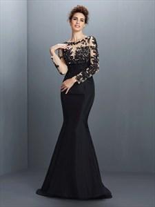 Black Illusion Long Sleeve Applique Bodice Mermaid Long Evening Dress
