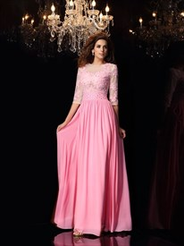 Pink 3/4 Length Sleeve A-Line Chiffon Prom Dress With Illusion Bodice