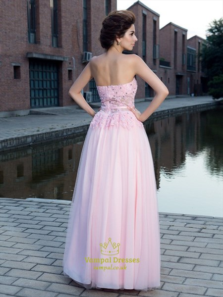 Pink Strapless Corset Bodice A-Line Chiffon Floor Length Prom Dress
