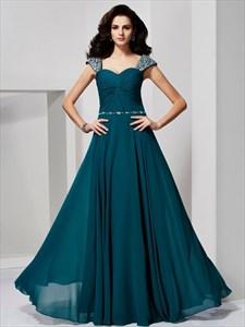 A-Line Sweetheart Beaded Cap Sleeve Floor Length Chiffon Prom Dress