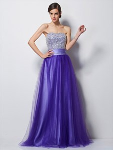 Purple Strapless Beaded Bodice A-Line Satin Floor-Length Prom Dress