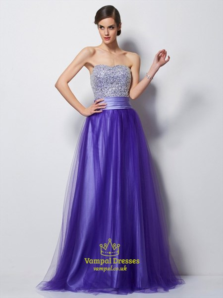 Purple Strapless Beaded Bodice A-Line Satin Floor-Length Prom Dress