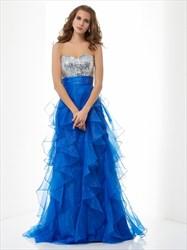Royal Blue Strapless Empire Waist Sequin Top Ruffle Bottom Prom Dress
