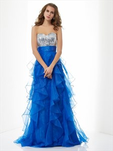 Royal Blue Strapless Empire Waist Sequin Top Ruffle Bottom Prom Dress