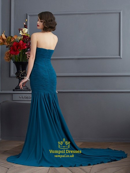 Strapless Beads Embellished Drop Waist Evening Dress With Split Front