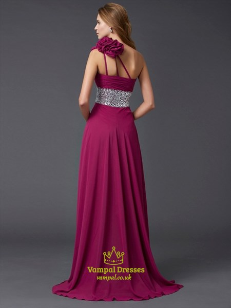 One Shoulder Beaded Empire Waist Chiffon Prom Dress With Flower Strap