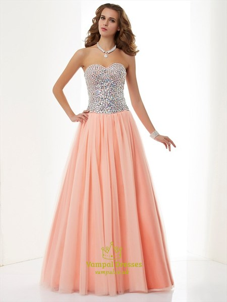 Peach Strapless A-Line Floor Length Tulle Prom Gown With Beaded Bodice