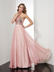 Simple A-Line Floor Length Strapless Chiffon Dress With Sequin Bodice