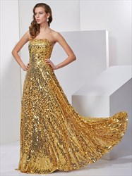 Sparkly Gold Sequin Strapless A-Line Floor Length Low Back Prom Dress
