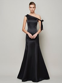 Simple Elegant Black One Shoulder Floor Length Mermaid Evening Dress