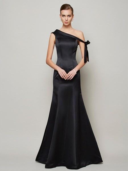 Simple Elegant Black One Shoulder Floor Length Mermaid Evening Dress