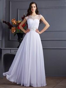 Sheer Sweetheart Neckline A-Line Chiffon Prom Dress With Keyhole Back