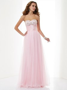 Blush Pink Strapless Tulle Overlay Prom Dress With Ruched Empire Waist