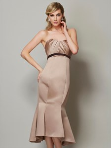 Tea Length Strapless High Low Mermaid Low Back Prom Dress With Belt