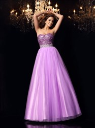 Purple Strapless Beaded Top Tulle Bottom A-Line Floor Length Prom Gown