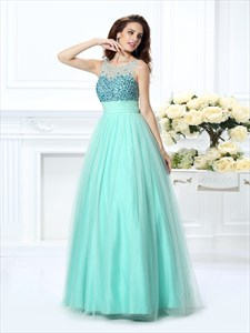 Illusion Sleeveless V-Back Empire Waist Prom Dress With Jeweled Bodice