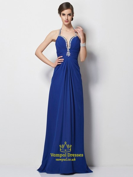 Royal Blue Halter Deep V Neck A-Line Chiffon Prom Dress With Open Back