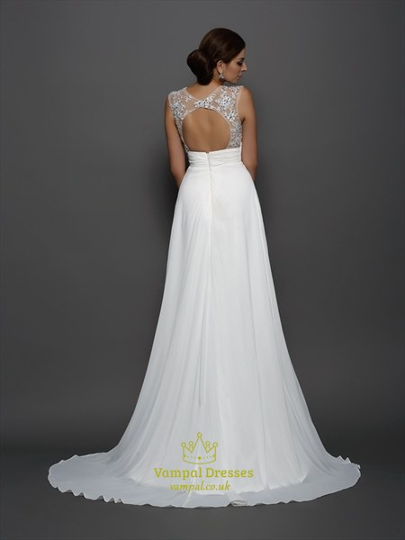 White Empire Waist Keyhole Back A-Line Prom Dress With Illusion Bodice
