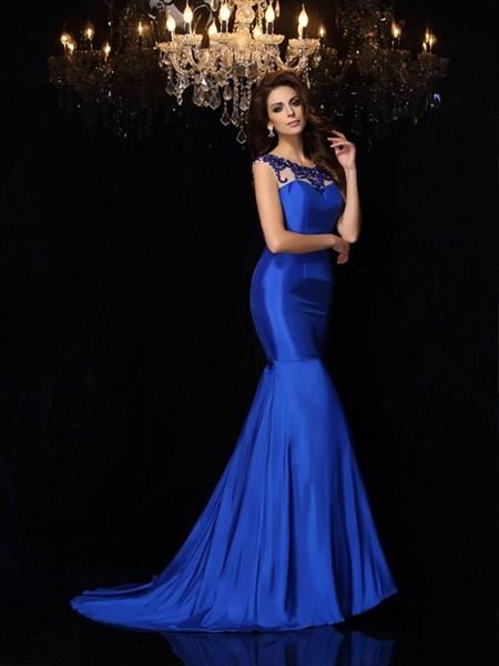 Royal Blue Sleeveless Floor Length Mermaid Prom Dress With Open Back