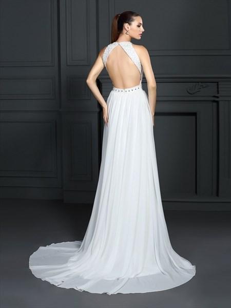Sleeveless Lace Bodice Chiffon Bottom Long Prom Dress With Open Back