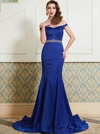 Royal Blue Off The Shoulder Mermaid Evening Dress With Beaded Waist