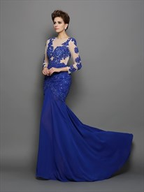 Royal Blue Illusion Bodice Long Sleeve Drop Waist Chiffon Formal Dress