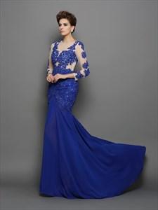 Royal Blue Illusion Bodice Long Sleeve Drop Waist Chiffon Formal Dress