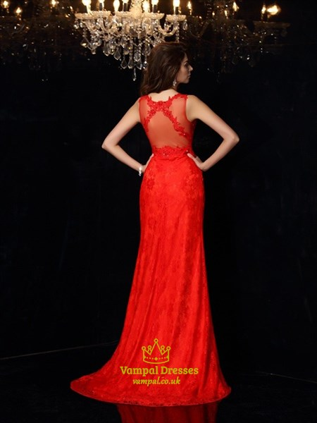 Elegant Red Sleeveless Lace Floor Length Prom Dress With Illusion Back