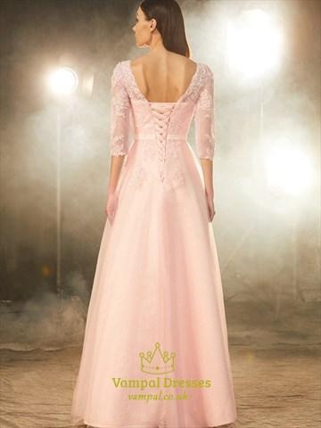 Illusion 3/4 Length Sleeve Lace Bodice A-Line Floor Length Prom Dress