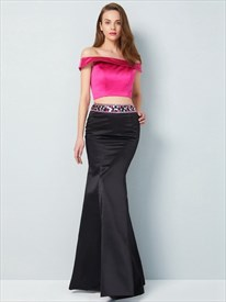 Black And Fuchsia Off The Shoulder Two Piece Mermaid Beaded Prom Dress