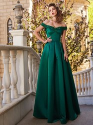 Emerald Green Off The Shoulder Satin A Line Floor Length Prom Dress