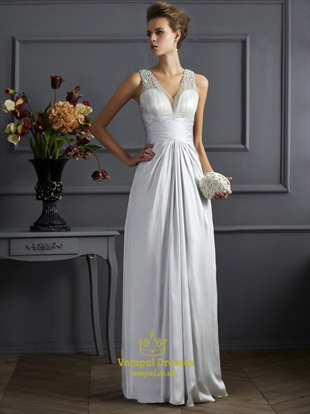 Silver Sleeveless V Neck Floor Length Evening Dress With Beaded Top