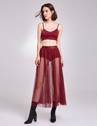 Sexy Sheer Lace Overlay Burgundy Spaghetti Strap Two-Piece Dress